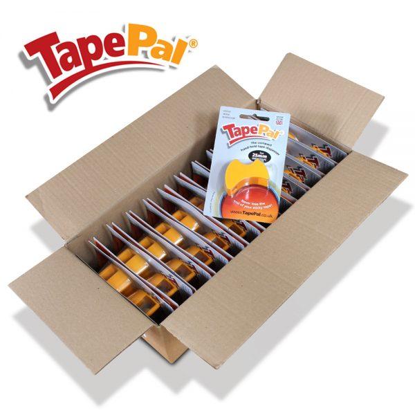 carton of 24 orange tape dispensers