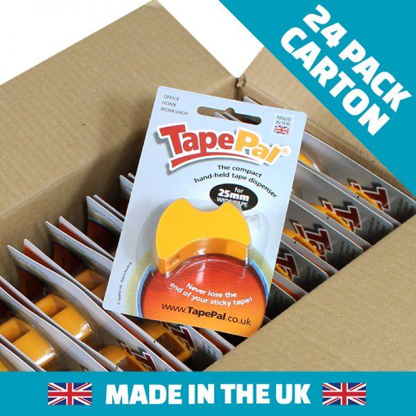 Carton of citrus orange tape dispensers