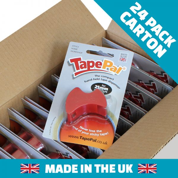 Carton of cherry red tape dispensers